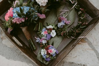 flowers bouquet and corsage pink and blue